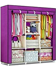 Shopper 52 Fancy & Portable Fabric Collapsible Foldable Clothes Closet Wardrobe Storage Rack Organizer Cabinet Cupboard Almirah 3 Door Wardrobe Collapsible Wardrobe (Purple) - 88130A-PR