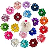 SHSYCER 20 PCS Dog Hair Bows with Rubber Bands Sent in Random Color