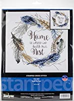 """Janlynn Stamped Cross Stitch Kit 12""""X12""""-Build Our Nest-Stitched In Floss"""