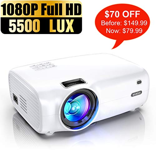 """Projector, WiMiUS P30 5500 Lumens Projector 1080P Full HD Support 200"""" Display Zoom Function 60,000 Hrs Compatible with USB PC Laptop PS4 Smartphone for Home Entertainment"""