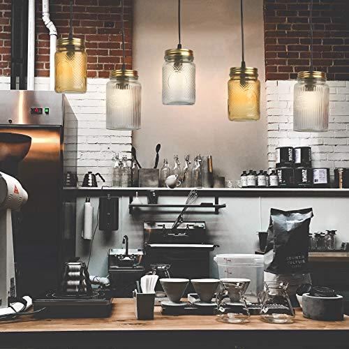 Pendelleuchte Jar Deckenleuchte Deckenlampe Vintage Ball Lampe Einmachglas Weckglas Mason Hängeleuchte (Klar (Old-Judge-Coffee))