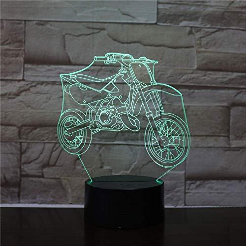 LWJZQT Nachtlampje, 3D-nachtlampje, tafellamp, motorfiets, 3D-illusie, verlichting, zaklamp, cool LED-licht, cadeau voor kinderen, vrienden en fans herinnering
