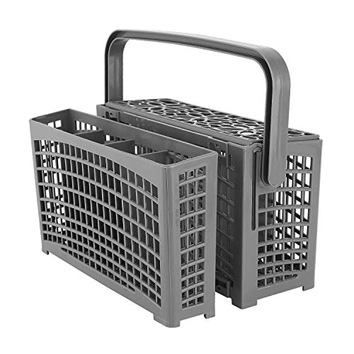 Nuovoware Dishwasher Cutlery Basket, Universal Divided Detachable 2-in-1 Silverware Replacement Basket, Dinnerware Utensil Basket Compatible with Samsung Bosch LG Frigidaire KitchenAid Whirlpool,Gray