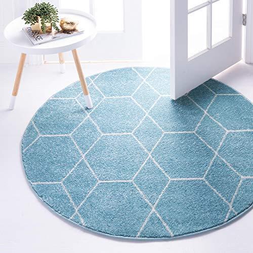 Unique Loom Trellis Frieze Collection Lattice Moroccan Geometric Modern Round Rug, 5 Feet, Light Blue/Ivory