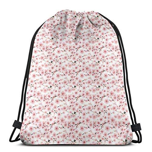 Odelia Palmer Gedruckte Kordelzug Rucksäcke Taschen, 3D illustrierte Sakura Tree Design mit Knospen und Multiplex Staubblättern, verstellbare Schnurverschluss