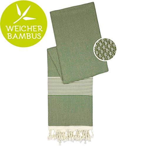 Happy Towels Hamamtuch (Olivgrün) - 210 cm x 95 cm - 60% Bambus und 40% Bio-Baumwolle