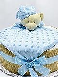 Tarta de pañales DODOT con DouDou para bebé - Regalo original para recién nacido - Incluye tarjeta DEDICATORIA - Regalo mamás primerizas (Azul)