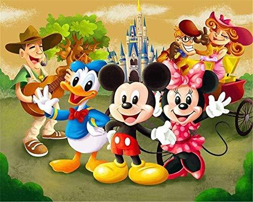 5D DIY diamante pintura conjunto dibujos animados Minnie Mickey Mouse círculo completo resina diamante pintura bordado punto de cruz mosaico artesanías30*40cm/40 * 50cm