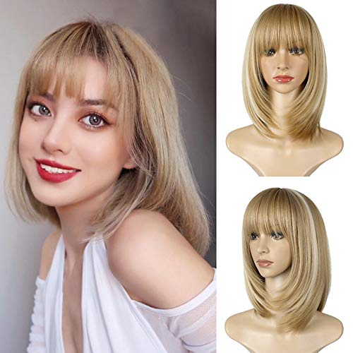 XBwig 16'' Short Straight Bob Wigs With Bangs For White Women Girl's Charming Synthetic Full Hair Wigs Include Wig Cap Party Cosplay Medium Length Wig Baby Blonde mix Bleach Blonde