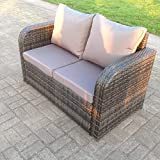 Fimous 2 Seater Curved Arm Rattan Sofa Patio Outdoor Garden Furniture With Cushion