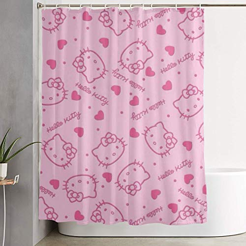 RGFK Pink Hello Kitty Heads Shower Curtain Water Repellent Curtain Liners with 12 Hooks for Modern Home Bathroom Decorations Curtains Machine Washable 59 x 70 inche