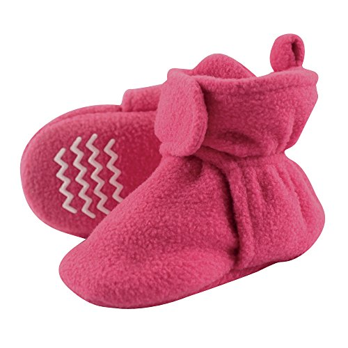 Hudson Baby Unisex Cozy Fleece Booties, Dark Pink, 6-12 Months