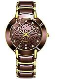 xiaoxioaguo Señoras reloj de cuarzo reloj impermeable reloj señoras reloj de cerámica hombres