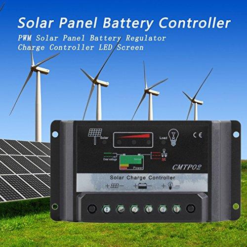 Hermosairis 30A 12 V / 24 V Professionelle LED-Bildschirm PWM Solar Panel Batterie Regler Laderegler CMTP02-30A Schwarz