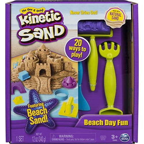 Kinetic Sand, Beach Day Fun Playset with Castle Molds, Tools, 12 oz. of for Ages 3 And Up, Multicolore, 140 gr, 6037424