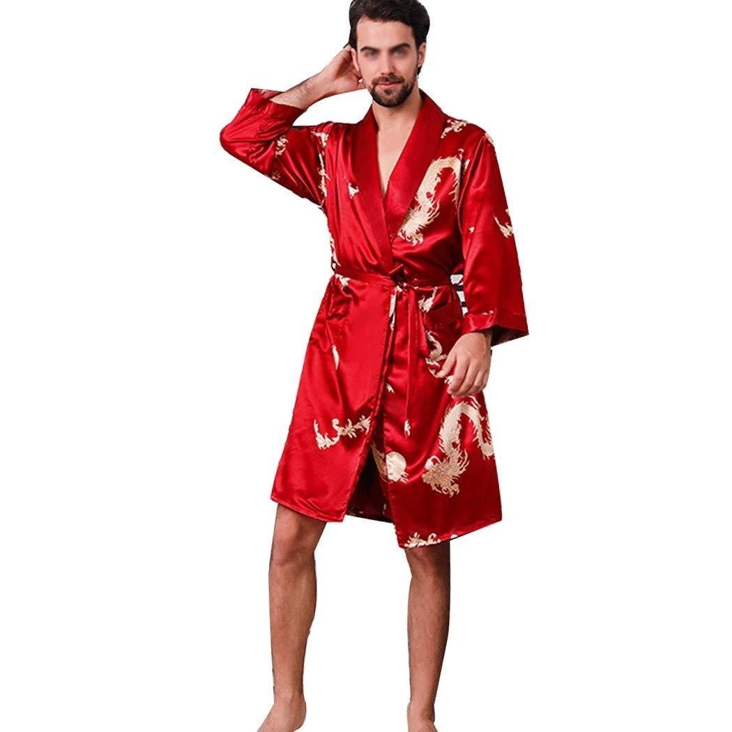 HUIQI Vêtements de Nuit Pyjama Satin Silky Hommes Ensembles Kimono Robe à Manches Longues Loungewear Peignoirs et Short 2 pièces avec Nuit et Poche de Ceinture Printemps et en Automne M-5XL