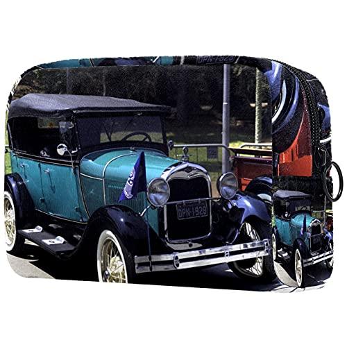 Yitian Bolso cosmético vintage del coche para las mujeres, adorables bolsas espaciosas del maquillaje del viaje del neceser