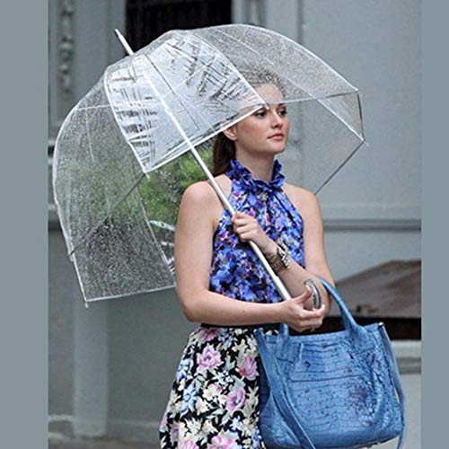 weichuang Paraguas duradero transparente de mango largo de las mujeres paraguas semiautomático portátil tamaño niñas soleado lluvia poliéster paraguas de lluvia Gear paraguas