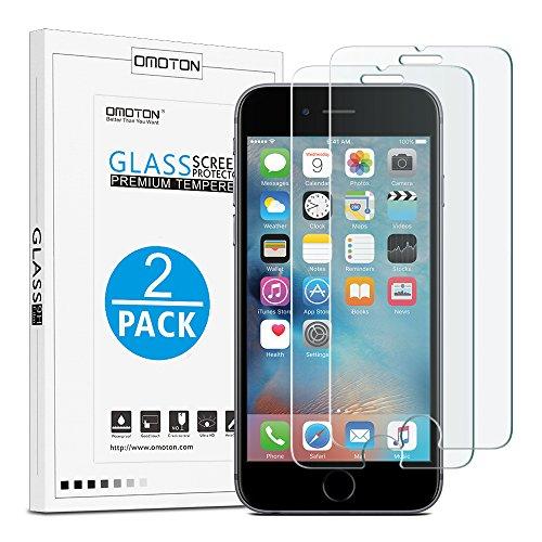 [2 Stück] OMOTON Panzerglasfolie kompatibel mit iPhone 6s und iPhone 6, 9H Härte, Anti-Kratzen, Anti-Öl, Anti-Bläschen, 2.5D