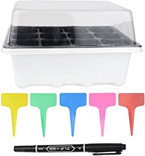 6 Set 12 cells Seed Starter Trays Growing Seedling Starter Trays Seedling Tray Kit with Lid and Base 20pcs Colorful T-type Tags 1 Black Marker Pen (12 cells, Black tray,White base and Transparent Lid)