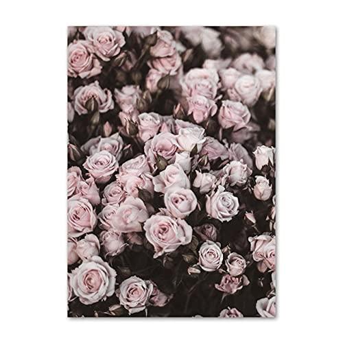 Yiwuyishi Paris Street Pink Tower Florista Moda Lienzo Pintura Carteles nórdicos e Impresiones Imágenes Decoración de la Sala de Estar 50x70cm P-1261