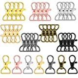 35 Pieces Swivel Clasps Lanyard Snap Hooks Keychain Clip Hook Lobster Claw Clasp Metal Hook Clasp with D Rings for Keychain Purse Hardware Sewing Craft Project (Multiple Colors, 20 mm)