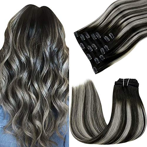 LaaVoo Remy Echthaar Clip Extensions Ombre Schwarz und Silber Balayage Extensions Echthaar Clip in Haare Clip in Ombre Extensions fur Komplette Dickes Haare 50cm Clip in Echthaar Extensions 100g 7PCS