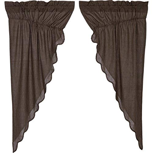 VHC Brands Kettle Grove Plaid Prairie Short Panel Scalloped Set of 2 63x36x18 Country Curtains, Country Black