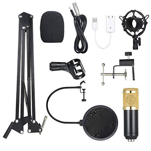 Gamogo BM800 Condenser Microphone Lit Pro Audio Studio Recording & Brocasting Adjustable Mic Suspension Scissor Arm Pop Filter Black+Golden