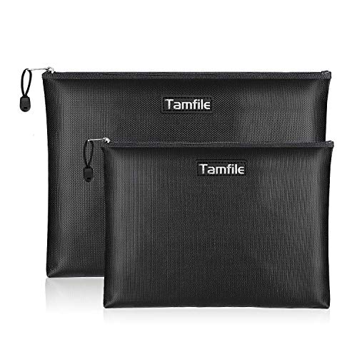 Fireproof Document Bags, Waterproof and Fireproof Money Bag with Zipper, Storage Pouch for Documents...