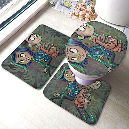 Cor-Aline Lot de 3 tapis de bain résistants et absorbants avec impression 3D antidérapante + tapis contour + housse d