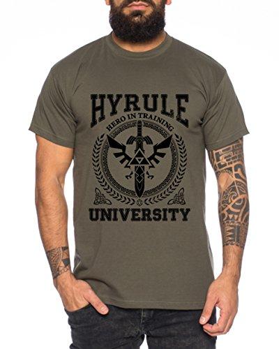 WhyKiki University of Hyrule T-Shirt pour Homme Link Wappen Gamer Snes Ocarina, Farbe2:Khaki;Größe2:M
