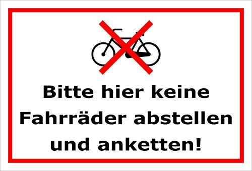 Melis Folienwerkstatt Schild - Fahrräder abstellen - 15x10cm | 3mm Hartschaum – S00050-022-B -20 Varianten