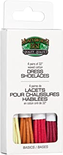 Moneysworth & Best Dress Waxed Colored Shoe Laces 4 Pack - Basic Colors, 32