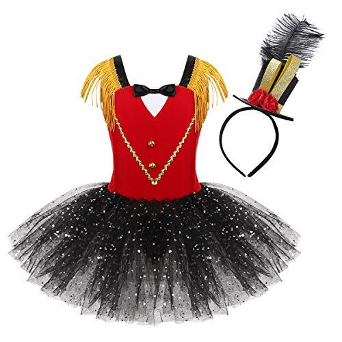 FEESHOW Kinder Mädchen Zirkus Kostüm Pailletten Kleid mit Tütü Rock Ringmaster Cosplay Outfits Halloween Weihnachten Rot Set 122-128