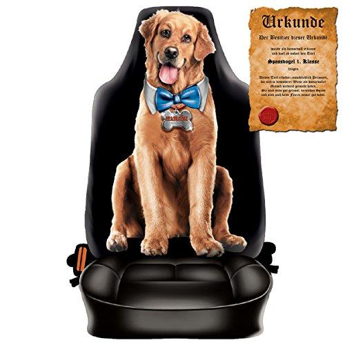 Scherzartikel - Sitzbezug für Autos Motiv Funny Dog für Hundeliebhaber lustige Geschenkidee Autositzbezug mit lustiger Urkunde