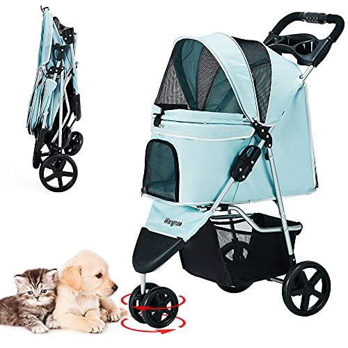 ペットカート 折りたたみ 3輪 犬用ベビーカー 猫犬兼用 多頭用 前輪360°回転 後輪ブレーキ付 組み立て簡単 介護用 ペットバギー 耐荷重15kg (ブルー)