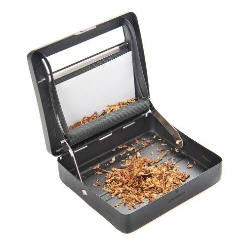 The Khan Outdoor & Lifestyle Company Halbautomatische Zigarettendrehmaschine (Zigarettenmaschine/Dreher) aus Zinklegierung (9cm x 8cm x 2cm), Mattschwarz, Mod. 753 DE