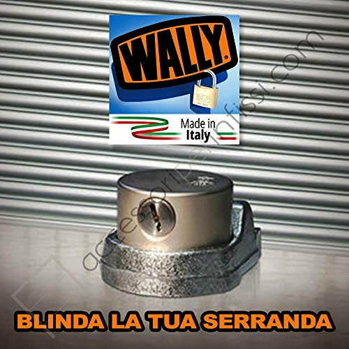 Lucchetto a campana per serrande WALLY - MAGGIORE SICUREZZA con piastra antistrappo a 2 perni