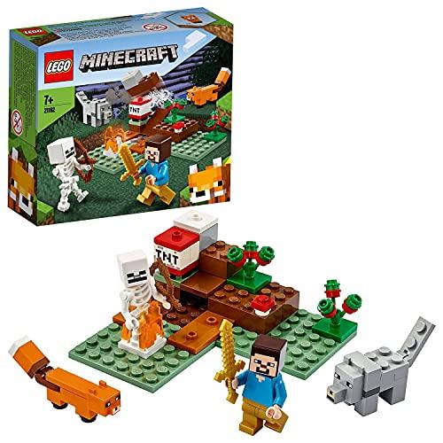 LEGO21162MinecraftLaAventuraenlaTaigaJuguetedeConstrucciónparaNiños+7añosconSteve,Esqueleto,ZorroyLobo