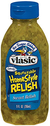 Vlasic Squeezeable Homestyle Sweet Relish, No Sugar Added, Keto Friendly, 8 Pack - 9 FL OZ Bottles