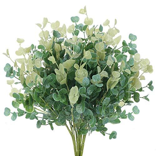 HUAESIN 4pcs Planta Artificial Exterior Pequeña 35cm Arbusto de Hojas de Eucalipto Artificial Flores de Plastico Verde para Decoracion Jarrones Jardinera Jardin Interior Mesa Boda Balcon Patio Hogar