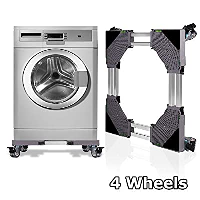 KELIXU Movable Adjustable Base Double Tube Multi-functional with 4×2 Locking Rubber Swivel Wheels Mobile Case Roller Dolly for Washing Machine,Dryer and Refrigerator