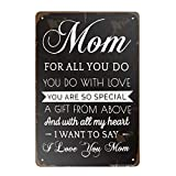 ZMKDLL Vintage Tin Sign I Love You Mom Sign Metal Sign for Plaque Poster Cafe Home Bar Coffee Wall Art Gift 11.8 X 7.8 INCH