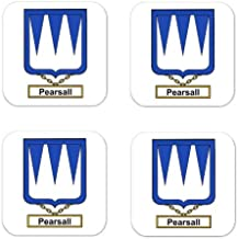 Pearsall Family Crest Square Coasters Coat of Arms Coasters - Set of 4