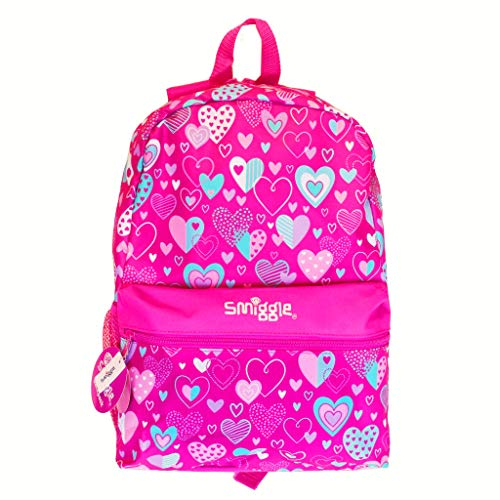 Smiggle Giggle Kids School Backpack with 2 Zipped compartments for Boys and Girls   Heart Print