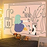 nobranded Tapiz de Pared de Dibujos Animados Surrealista Colorido Dormitorio Dormitorio Cabecero Starry Sky Art Tapiz Tapiz de Pared para decoración del hogar (130 * 150 cm)