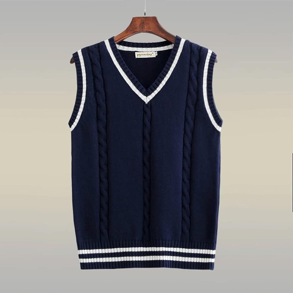CFSNCM Sweater Vest Men Patchwork Vests Preppy-style Chic Daily Streetwear Leisure Retro Knitted (Color : Blue, Size : XXXL code)