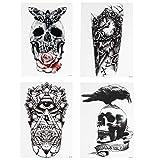 Beaupretty - Juego de 4 tatuajes temporales para Halloween, funda para tatuajes, calavera, búho, zorro, tigre, animales, maquillaje, para fiestas, mujeres y hombres