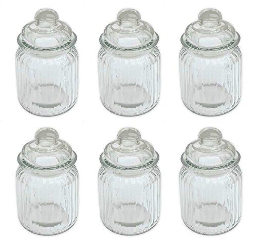Bonbonglas Vorratsglas Glasdosen Nostalgische Bonboniere mit Glasdeckel 300 ml 6 Stück